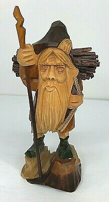 Hand Carved Wood Statue Old Bearded Man W/Walking Stick And Bundle Of Sticks