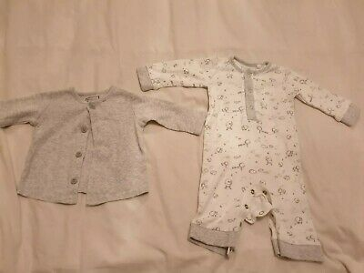 Next Sheep Romper And Cardigan Set Up To 3 Month unisex