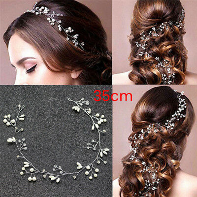 Luxury Wedding Bridal Rhinestone Faux Pearl Headband Tiara Hair Headpiece_AU