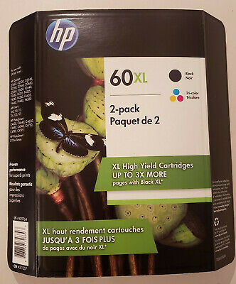 HP 60xl Black And Multi Color Ink Cartridge Combo Pack. Exp - Oct / 2021 New
