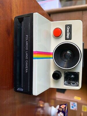 -Vintage, Instant Film Land Polaroid Camera White Rainbow One-Step-Sx-70