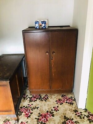 Vintage Oak Tallboy Cupboard / Small Wardrobe with Shelves & Rail