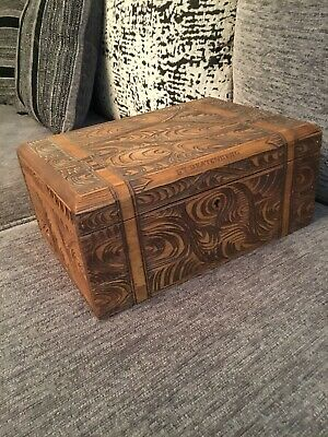Large Antique Carved Wooden Jewllery Box