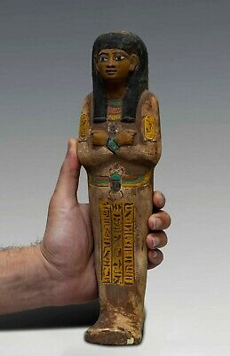 EGYPT EGYPTIANT STATUE ANTIQUES Shabti Hieroglyphs Carved Limestone BC