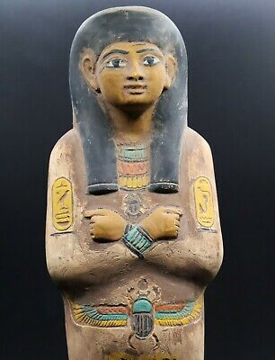RARE EGYPT EGYPTIANT STATUE ANTIQUES Shabti Hieroglyphs Carved STONE BC