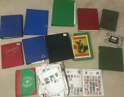 13 Worldwide Stamp Albums And Loose Sheets Various Job lot Stamps various Ages