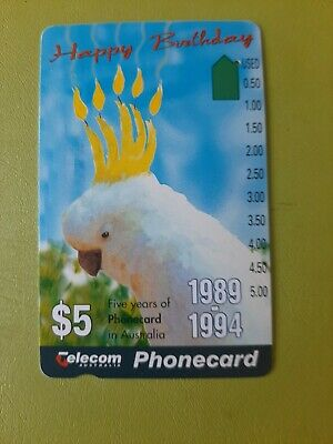$5 1hole Phonecard  years  Of  Phonecards  White Cockatoo  Prefix 639