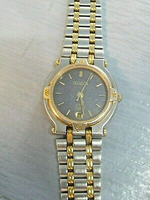 "GUCCI 9000L: Stainless Steel /Gold Plated ""GG"" Logo Women's Quartz Watch,"