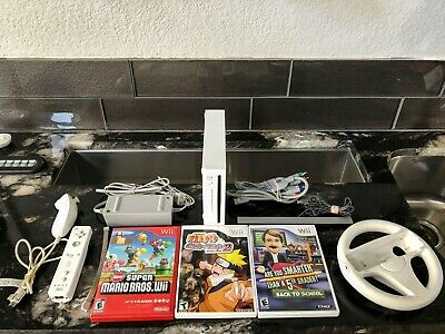 Nintendo Wii White Console Complete System with 3 Games & Component Cables!