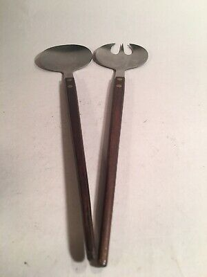 Mid Century Modern Stainless Steel and Wood Salad Servers Fork and Spoon, Japan