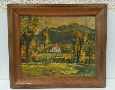 Original Vintage Oil Painting by Ted Kautzky USA Country Landscape Fine Art