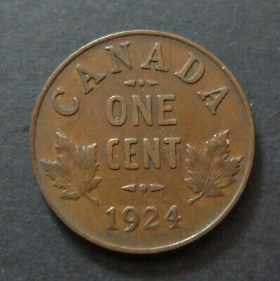 """""""Key Date"""" 1924 Canada 1 Cent Coin, Fine Condition, Lot#A185"""