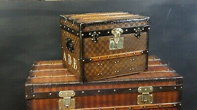 Stunning Antique Small French Damier Shoe Trunk