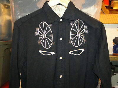 Embroidered Trim Accents Black with White Trim VLV Viva Las Vegas XL 60s H Bar C Western Rockabilly Ricky Jacket with Pearl Snaps
