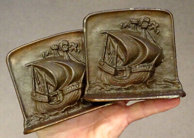 SPANISH GALLEON Antique PIRATE SHIP Cast Iron ARTS CRAFTS Bookends / Hubley