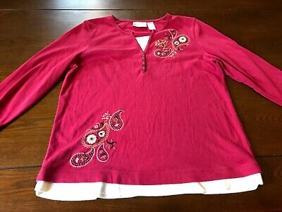 ☀️ Alfred Dunner Women's pink embroidered blouse ☀️ size M