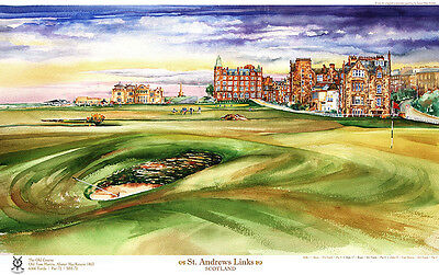 St. Andrews Old Course Road Hole Limited Edition Golf Art Print Signed by artist