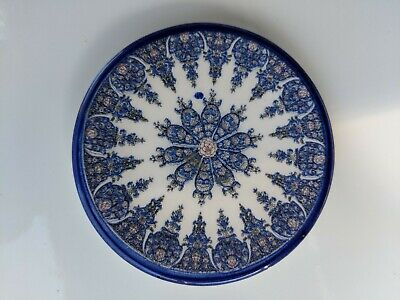 Vintage Spanish Decorative Plate Ceramic Blue & White Floral Design 9cm Diameter