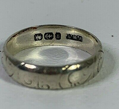 Antique Sterling Silver Engraved Ring Hallmarked Early 1900s
