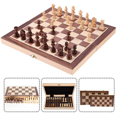 Large Chess Wooden Set Folding Chessboard Magnetic Pieces Wood Board Kid Gift UK
