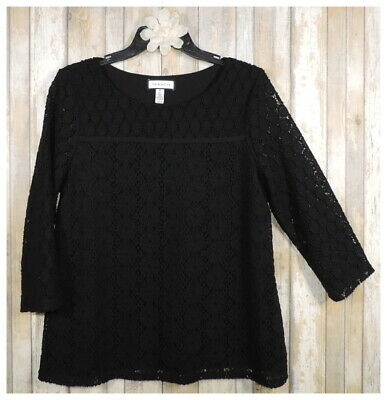 Women's CHARTER CLUB Solid Black Lace 3/4 Sleeve Blouse Top Shirt Size Medium M