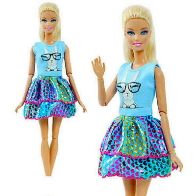 Brand new barbie doll clothes clothing outfit summer blue patterned dress