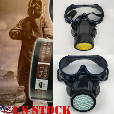 Emergency Respirator MaskER Chemical Gas Mask with Goggles Protection USA