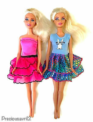 New barbie doll clothes outfit clothing set of 2 summer mini dresses