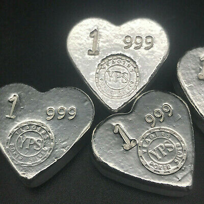 Yps 1 Oz 'Hearts' Poker Bar - Yeager Poured Silver - 999 Fine Silver Bullion #65
