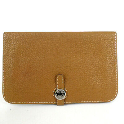 Authentic HERMES Dogon GM □ K stamp purse leather[Used]
