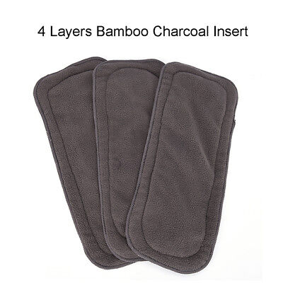 4Layers Soft Reusable Newborn Baby Bamboo Charcoal Cotton Liners Cloth Diaper_AU