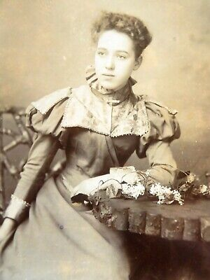 Large 1800s Victorian Cabinet Card Photograph by Laniado & Bell Manchester