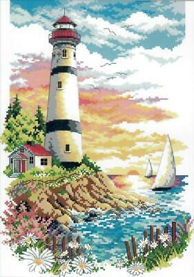 Lighthouse (4) 14CT counted cross stitch kit. 32 x 23 cm.