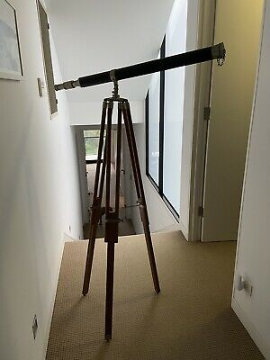 Vintage Style Decorative Telescope On Wooden Stand