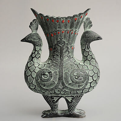 Collect China Old Bronze Hand-Carved Elegant Double Peacock Delicate Luck Vase