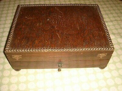 antique oak cutlery box with drawer storage collectors cabinet 1930s art deco