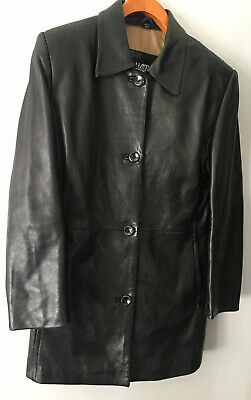 Kasper Womens 100% Leather Jacket Size Small Lined Soft Black Button Up Coat