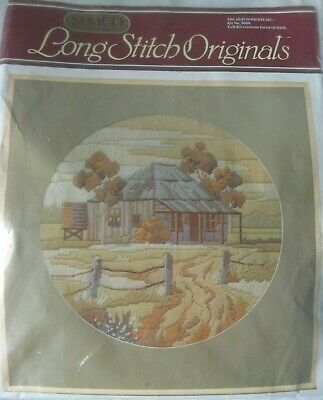 Old Homestead House Tree SEMCO Long Stitch Original Kit Wool Canvas Embroidery