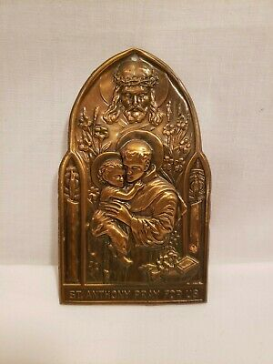 "Vintage Saint Anthony Bronze Plaque, Metal Arts, Wall Hanging, ""Pray for Us"""