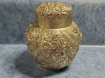 "S. Kirk & Son REPOUSSE Sterling Silver 4"" Tea Caddy Canister Jar"