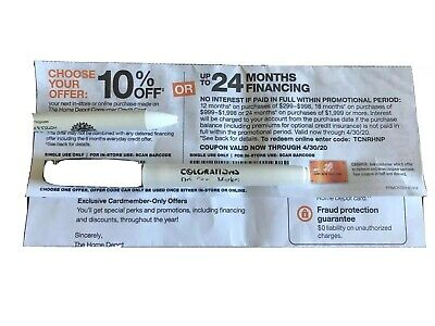 Home Depot coupon 10% Off or up to 24 Months No Interest Online or In Store