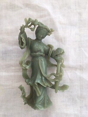 Late 19th - Early 20th Century Chinese Carved Jade Figure Of Dancing Maiden