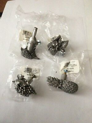 Rawcliffe Pewter Draw Pulls, USA. Wine Bottle, Grapes, Pineapple, 4pcs  NOS.