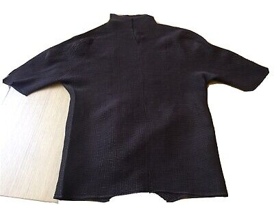 Issey miyake pleats please, Chocolate Brown High Neck Short Sleeve Top