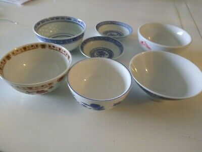 Vintage Chinese/Japanese Lot of 7 Rice-Soup/Dish Bowls.
