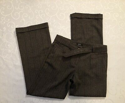 Women's XOXO Belted Cuffed Bootcut Dress Pants Size 9/10 Brown