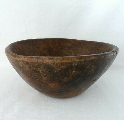 "Primitive Old CARVED Antique BURL WOOD Bowl 8 1/2"" dIA. by 4"" tall"