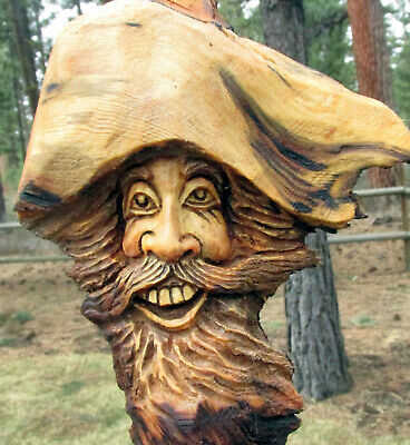 Wood Spirit Carving Knot Head Hobbit Forest Face Tree Wizard Log Home Gnome