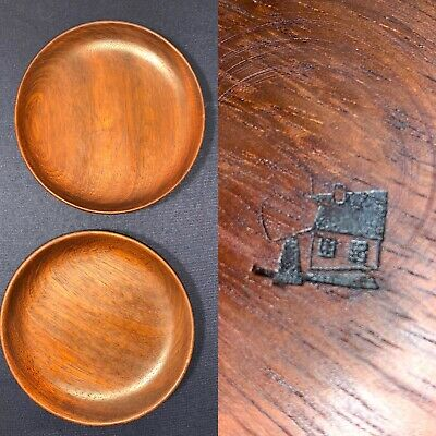 "Pair Mid Century Modern Turned Wood Plates~Shallow Bowl 6"" Signed"