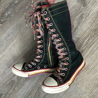 Converse Sneakers Knee High Tops Black Rainbow Laces Zip Up Girls Size 11